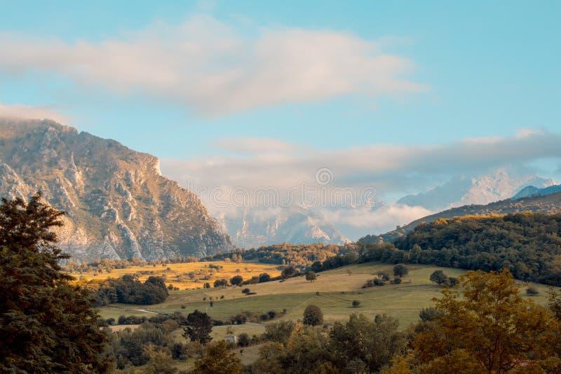 Terras do Picos de Europa, com prados e as montanhas verdes foto de stock royalty free