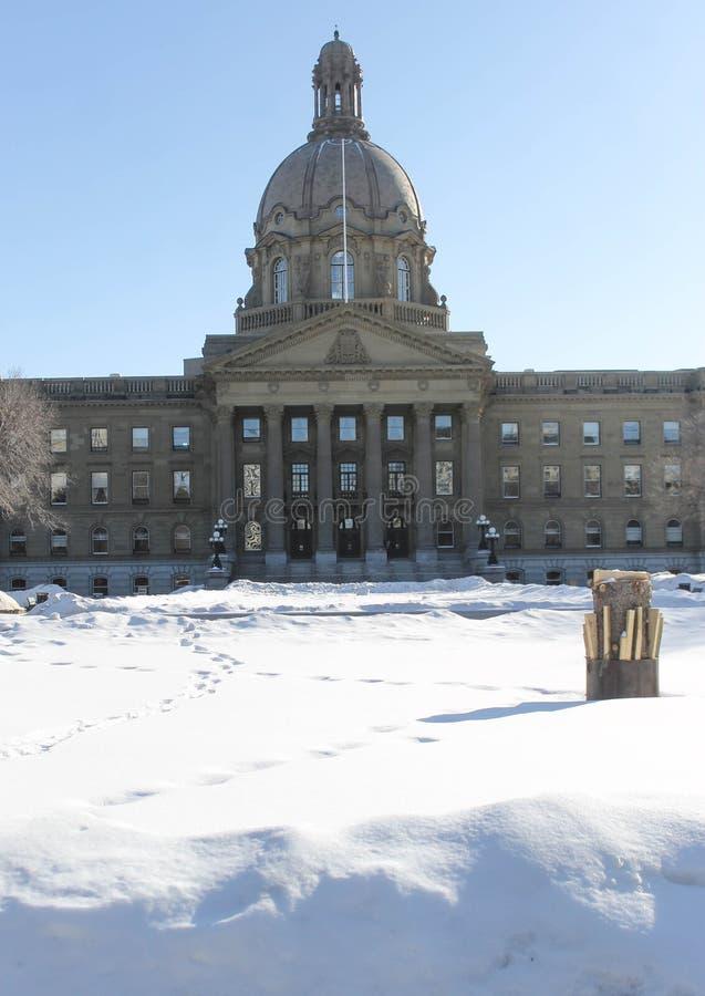 Terras legislativas que constroem, tempo de Alberta de inverno fotografia de stock royalty free