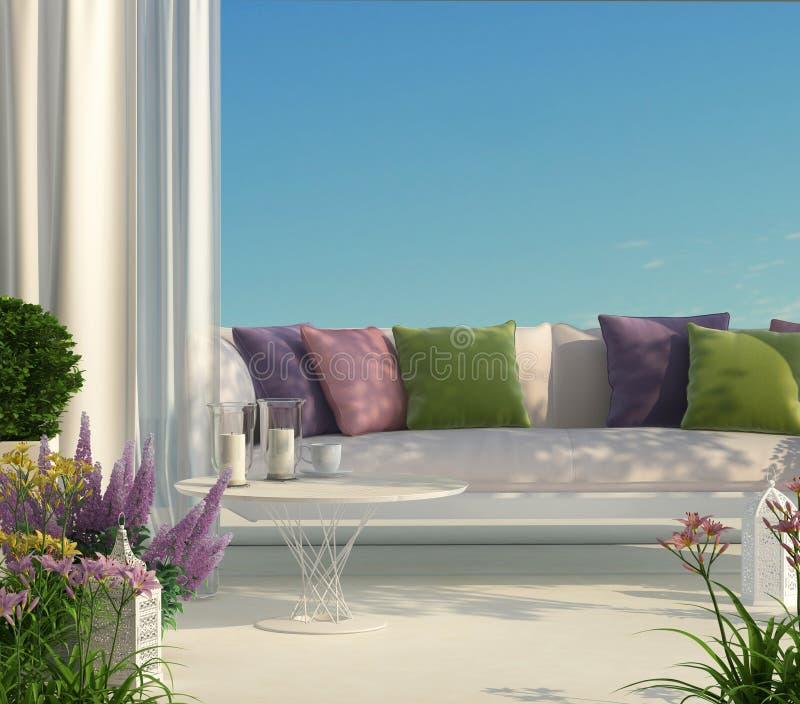 Terras, meubilair en bloemen vector illustratie