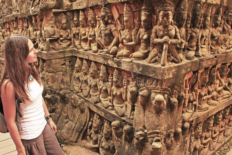 Terras van de Lepralijderkoning, Angkor Thom stock afbeeldingen