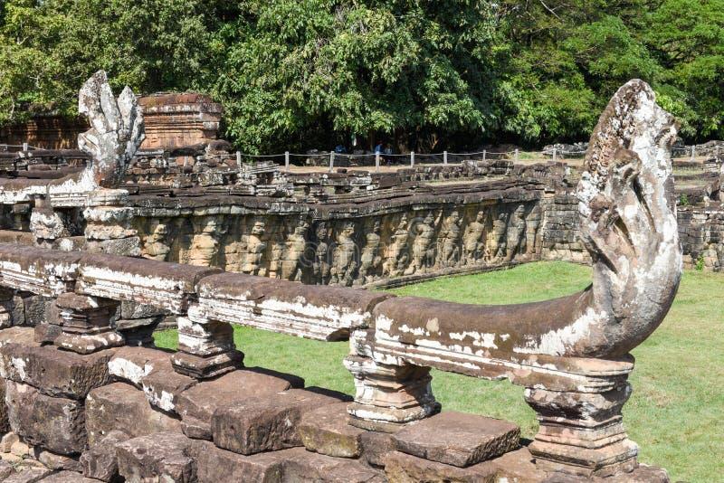 Terras van de olifanten in Angkor Thom op Siemreap, Kambodja royalty-vrije stock afbeelding