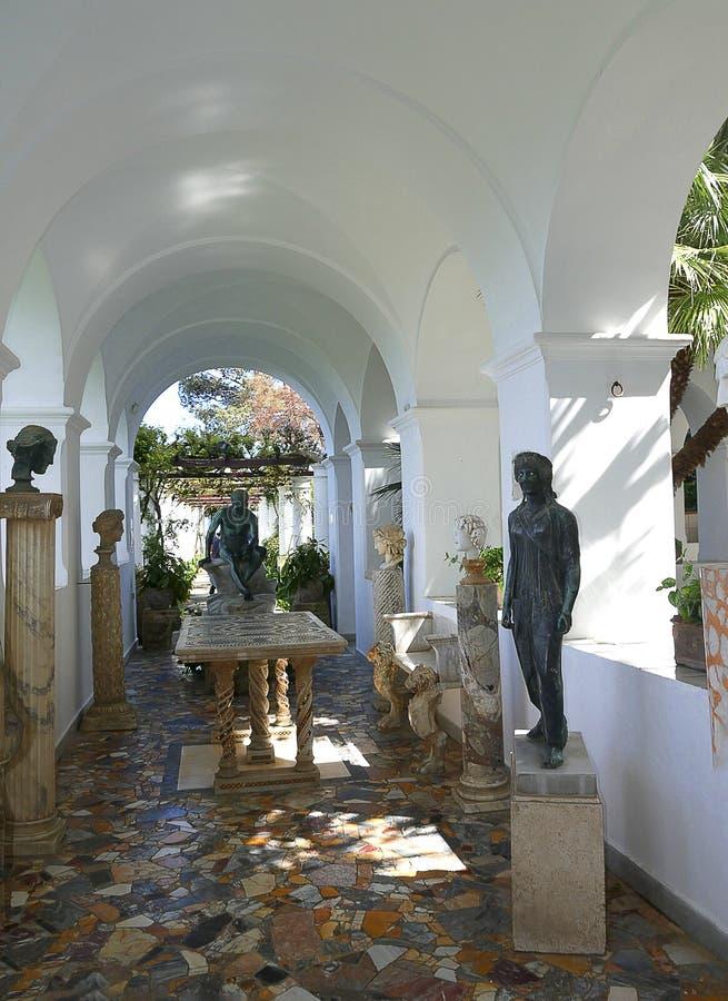 Terras van een Villa in Anacapri op het Eiland van Capri in de baai van Napels Italië royalty-vrije stock fotografie