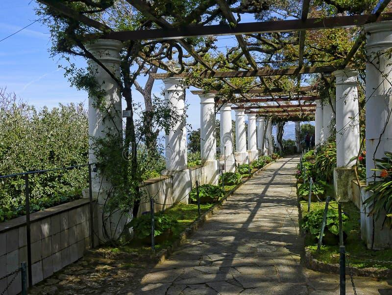 Terras van een Villa in Anacapri op het Eiland van Capri in de baai van Napels Italië stock fotografie