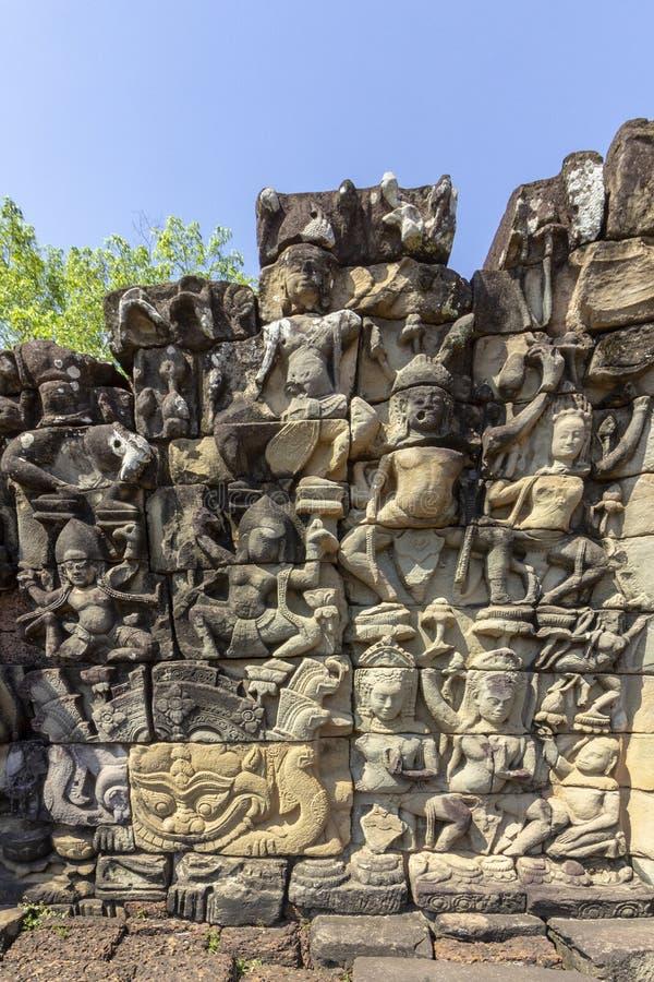 Terrass av elefantdetaljen, i Angkor Thom, den sista och mest bestående huvudstaden av en khmervälden Siem Reap Cambod royaltyfria bilder