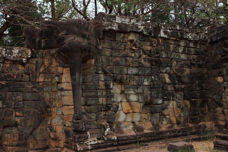 Terrass av elefanter, Angkor Thom arkivbilder
