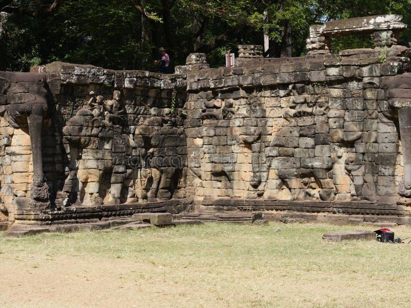 Terrass av elefanterna, Angkor Thom royaltyfri foto