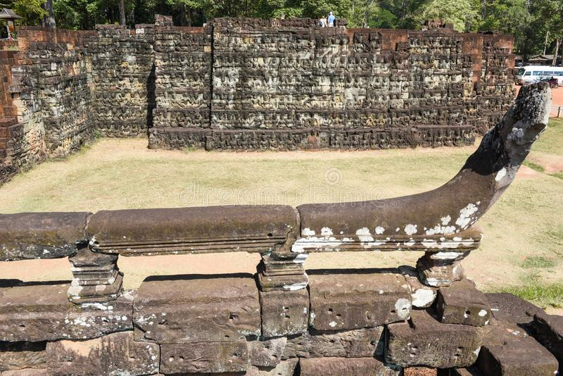 Terrass av elefanterna på Angkor Thom på Siemreap, Cambodja royaltyfri foto