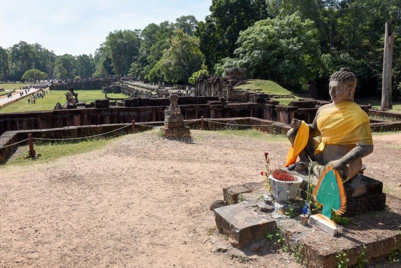 Terrass av elefanterna på Angkor Thom på Siemreap, Cambodja royaltyfri bild
