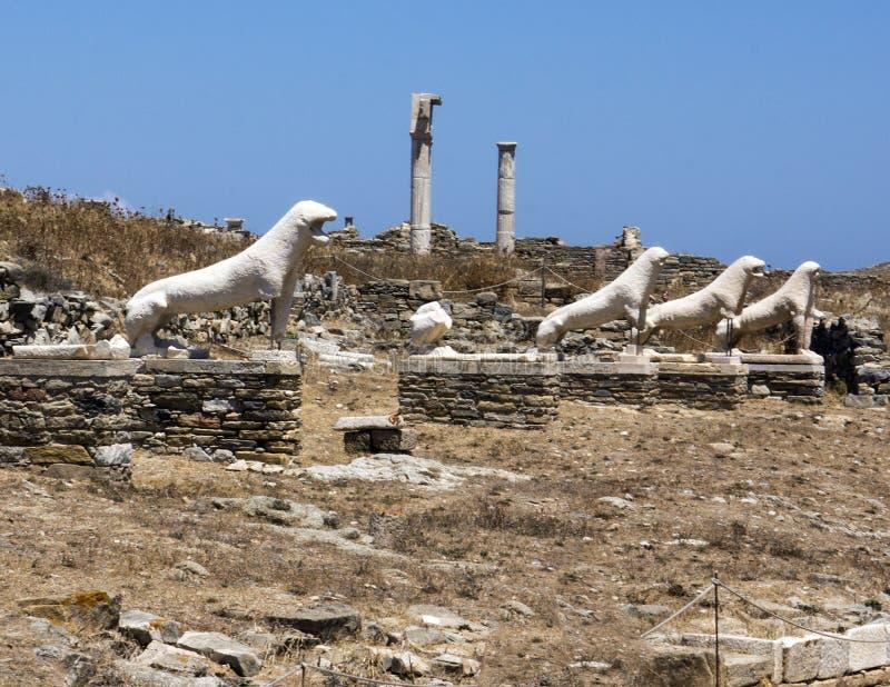 Terrass av lejonen i Delos royaltyfri fotografi