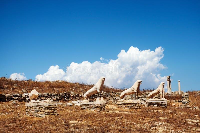 Terrass av lejonen i Delos, Grekland royaltyfri bild