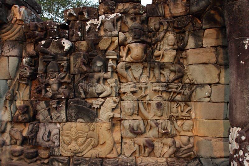 Terrass av spetälskkonungen, Angkor Thom royaltyfri foto