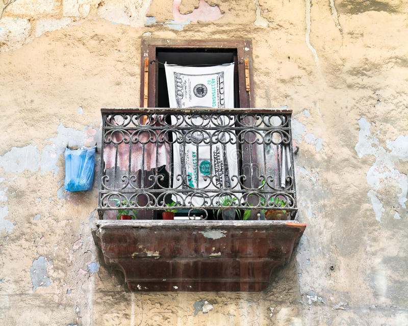 Terrasse in altem Havana, Kuba lizenzfreies stockbild