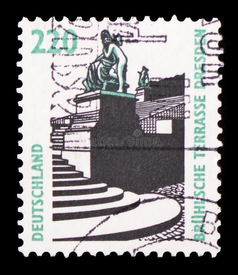 Terrasse de Bruhls, Dresde, serie de vues, vers 1997 image libre de droits