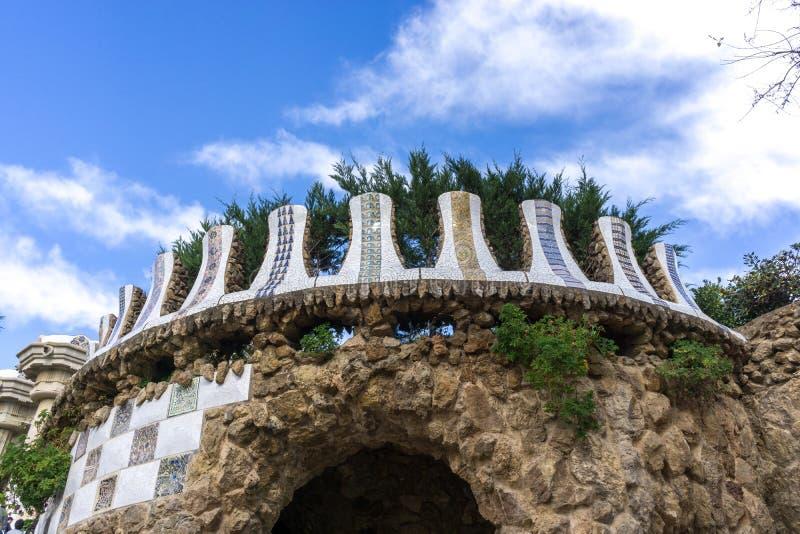 Terrasse de canalisation de parc de Guell images stock
