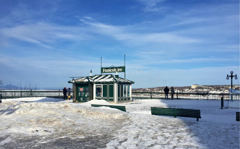 Terrasse de Dufferin, funiculaire à Québec, Canada, en hiver photo libre de droits