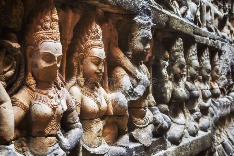 Terrasse du roi de lépreux chez Angkor, Siem Reap, Cambodge images libres de droits