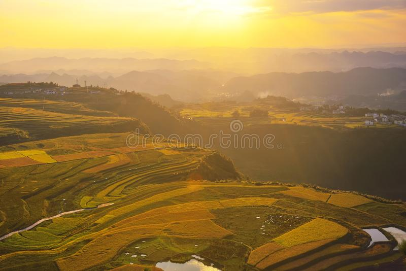 Terrasse an Guizhou-Porzellan lizenzfreie stockfotografie