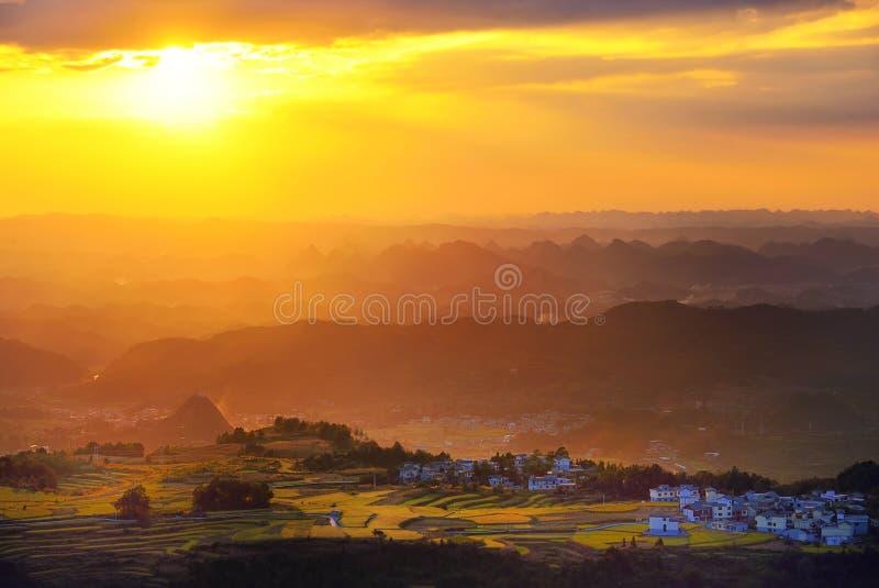 Terrasse an Guizhou-Porzellan stockfotos