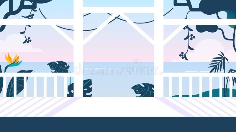 Terrasse légère avec la barrière blanche sur la mer de fond illustration stock