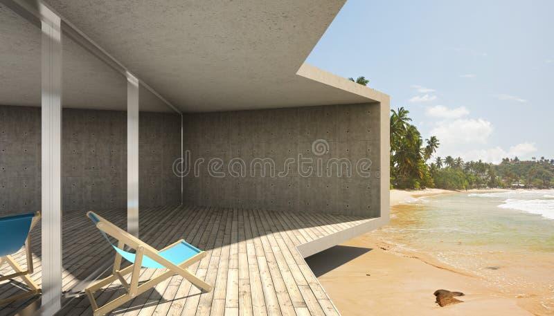 Terrasse moderne avec la grande fenêtre en saillie illustration de vecteur