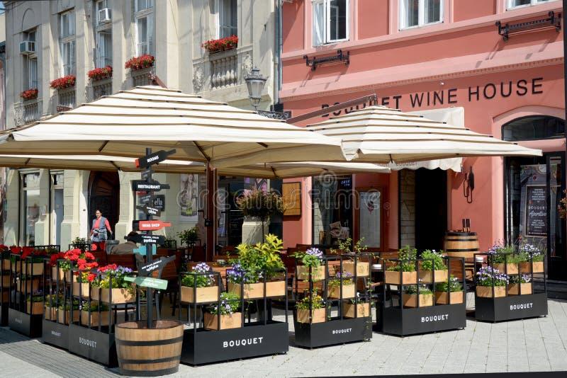 Terrasse in Novi Sad Serbien stockfotografie