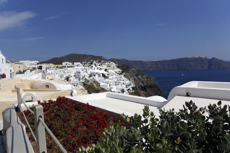 Terrasse, Oia, Santorini stockfoto