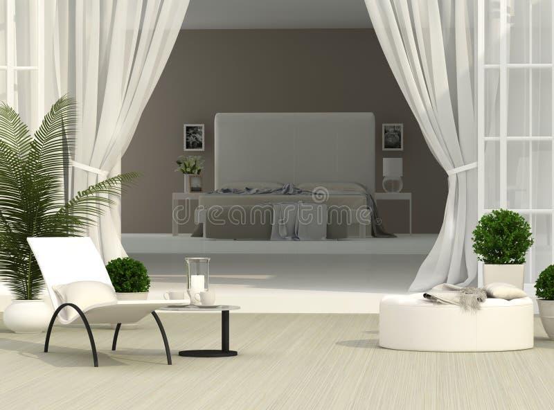 Terrasse und Schlafzimmer lizenzfreie abbildung