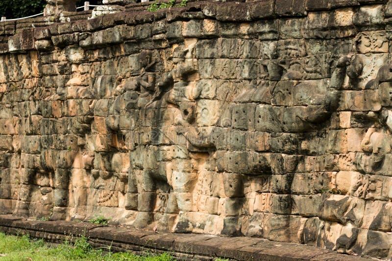 Terrassen av elefanterna i arkeologiska Angkor parkerar, Siem Reap, Cambodja fotografering för bildbyråer