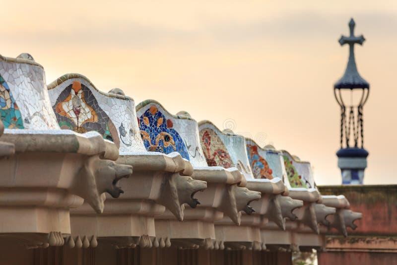 Terrassen av parkerar Guell royaltyfri bild