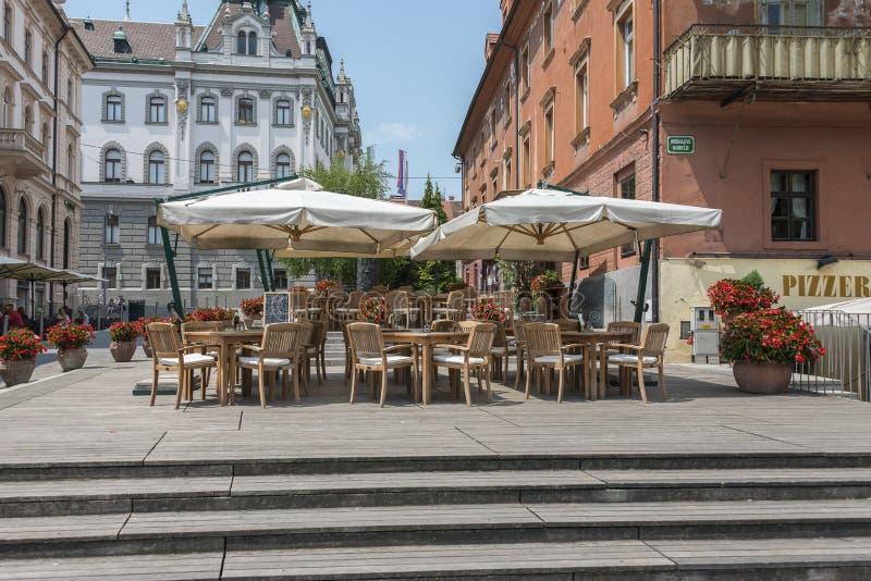 Terrassen Ljubljana, Slovenië stock foto's