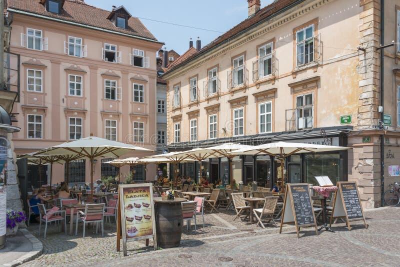 Terrassen Ljubljana, Slovenië royalty-vrije stock foto