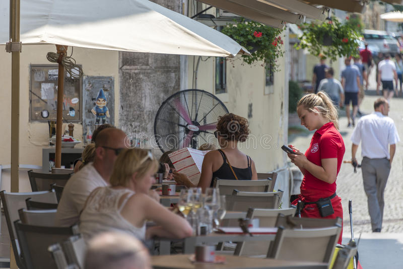 Terrassen Ljubljana, Slovenië stock foto