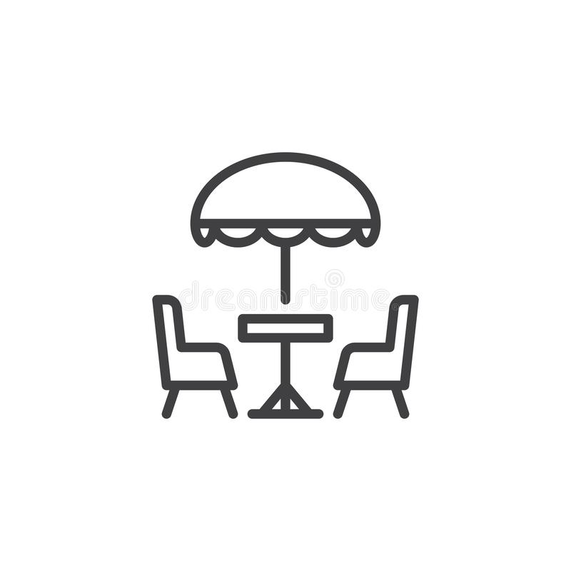 Terrassencafélinie Ikone vektor abbildung