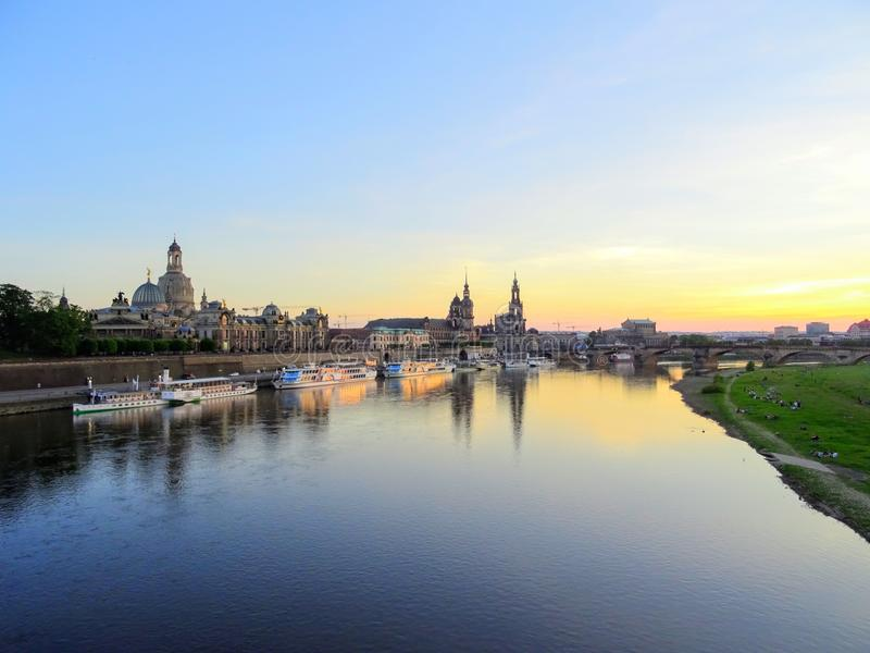 Terrassenufer in Dresden Germany. Terrasenuffer in Dresden Saxony Germany, sunset stock photo