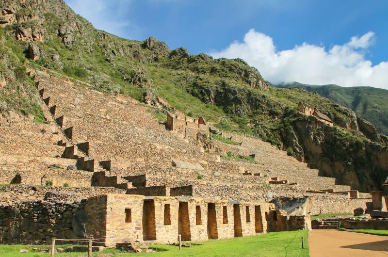 Terrasser av Pumatallis på Inca Fortress i Ollantaytambo, Peru royaltyfria foton