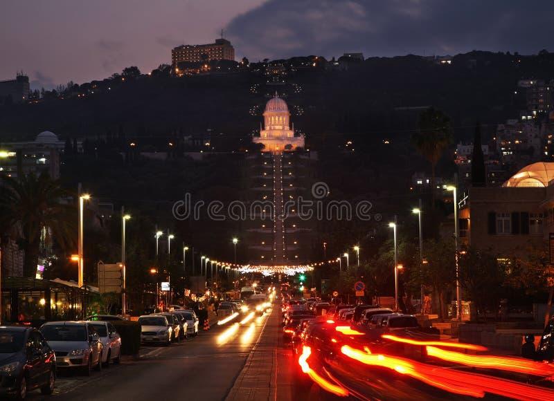 Terrasser av relikskrin av Bab i Haifa israel royaltyfri bild