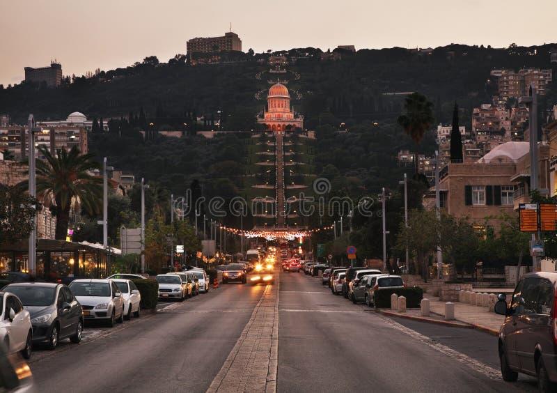 Terrasser av relikskrin av Bab i Haifa israel arkivfoto