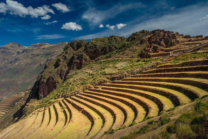Terrasserade fält i det arkeologiska området för Inca av Pisac i den sakrala dalen nära Cuscoen fotografering för bildbyråer