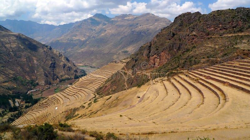 Terrasses agricoles historiques au Pérou images libres de droits