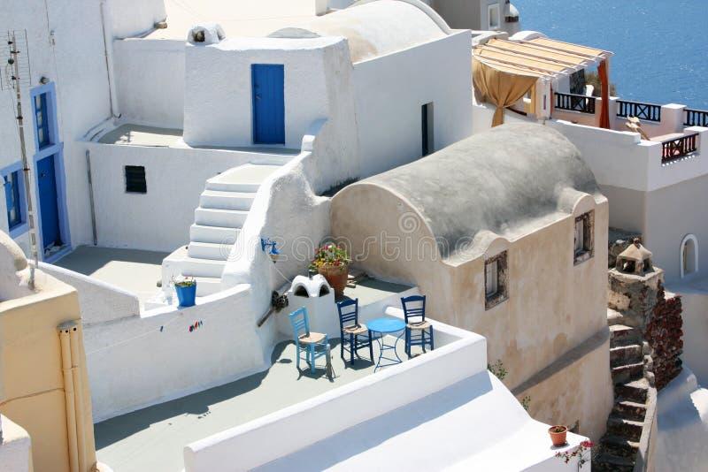 Terrasses de Santorini photo libre de droits