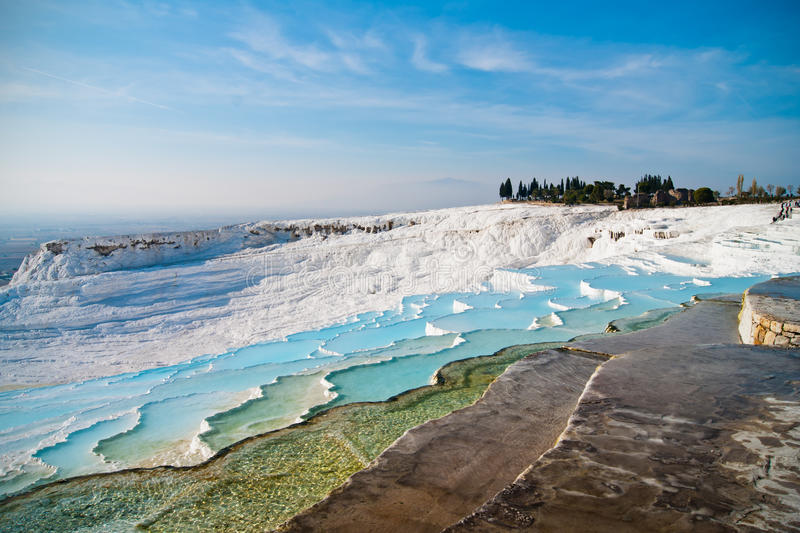 Terrasses de travertin de Pamukkale photographie stock libre de droits