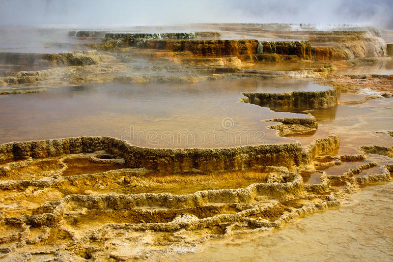 Terrasses gigantesques, stationnement national de Yellowstone images stock