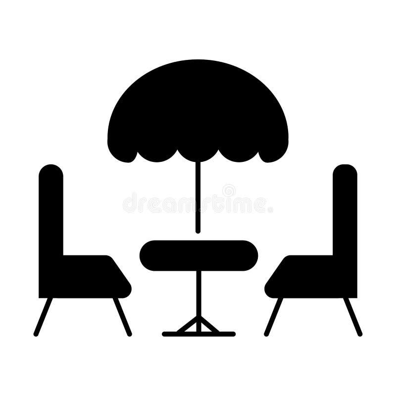 Terrasskafé, två stolar under paraplytecknet royaltyfri illustrationer