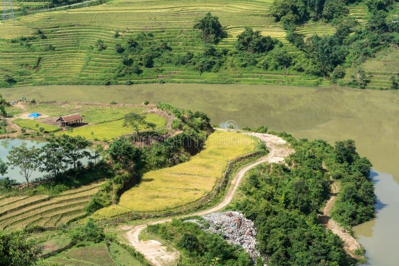 Terrasvormig padieveldlandschap van Y Ty, het district van Knuppelxat, Lao Cai, Noord-Vietnam stock afbeelding