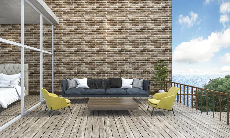 terraza al aire libre del sofá vivo del estilo de la representación 3d cerca del mar ilustración del vector