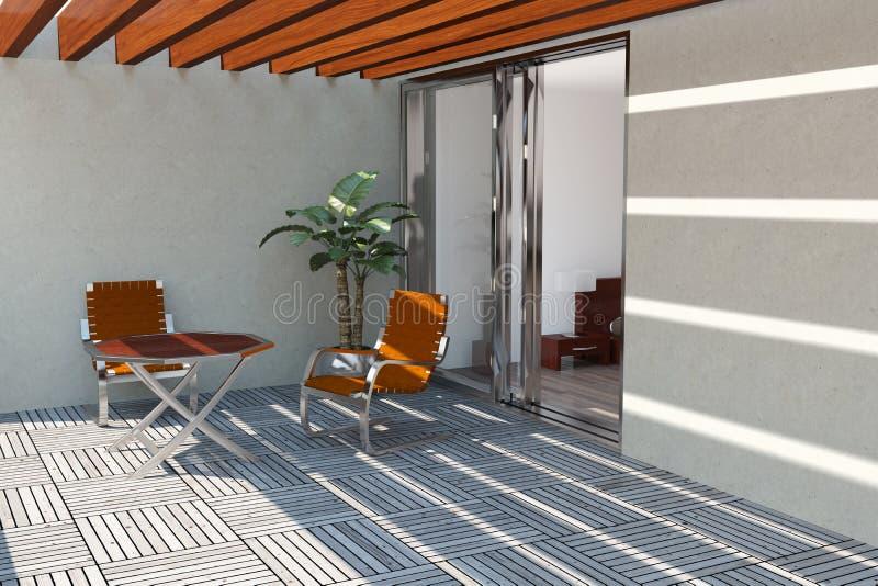 Terraza casera moderna ilustración del vector