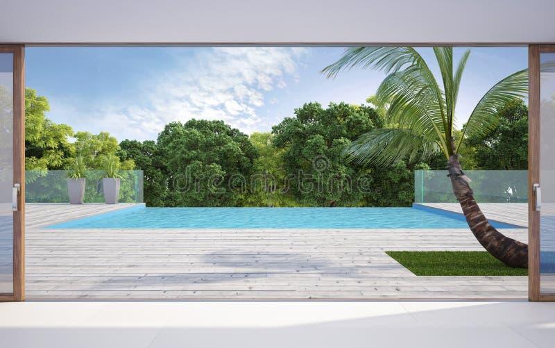 Terraza cerca de la piscina stock de ilustración