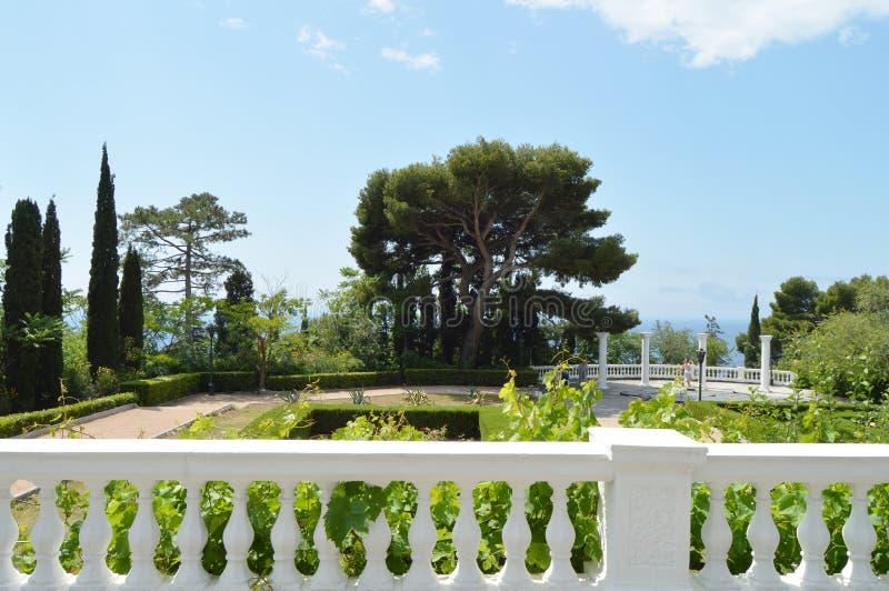 Terraza con la barandilla y las hermosas vistas del parque con los árboles de pino, los árboles de ciprés y las columnas en el fo imagen de archivo libre de regalías