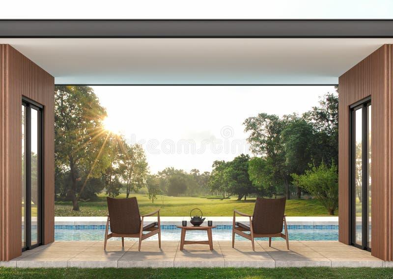 Terraza contemporánea moderna 3d de la piscina rendir stock de ilustración