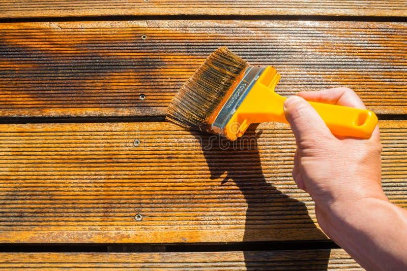Terraza de engrase con el cepillo ancho imagen de archivo